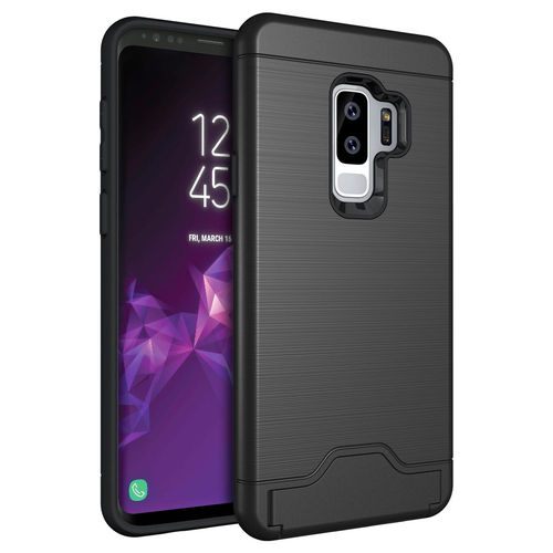 Dual Armour Case & Card Slot Stand for Samsung Galaxy S9+ (Black)